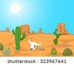 cartoon desert landscape  wild... | Shutterstock .eps vector #323967641