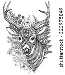 Hand Drawn Vector Horned Deer...