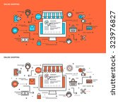 thin line flat design concept... | Shutterstock .eps vector #323976827