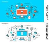 thin line flat design concept... | Shutterstock .eps vector #323976857