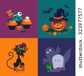 set of halloween vector... | Shutterstock .eps vector #323977577