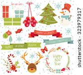 vintage merry christmas and... | Shutterstock .eps vector #323979317