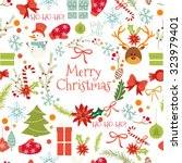 vintage merry christmas and... | Shutterstock .eps vector #323979401