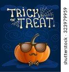 halloween hipster pumpkin... | Shutterstock .eps vector #323979959