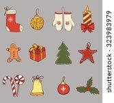set of hand drawn christmas...   Shutterstock .eps vector #323983979