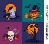 halloween flat icons with a... | Shutterstock .eps vector #323988161
