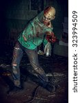 horrible scary zombie man on... | Shutterstock . vector #323994509
