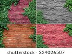 Old Brick Wall Covered In Ivy.