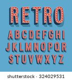 retro font with light bulbs.... | Shutterstock .eps vector #324029531