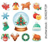 christmas icon set containing... | Shutterstock .eps vector #324029729