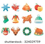 christmas icon set containing... | Shutterstock .eps vector #324029759