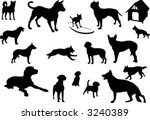 dogs silhouettes | Shutterstock .eps vector #3240389