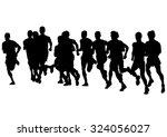 athletes on running race on... | Shutterstock . vector #324056027