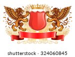two winged golden lions holding ... | Shutterstock .eps vector #324060845