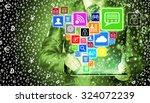 business man using tablet pc... | Shutterstock . vector #324072239