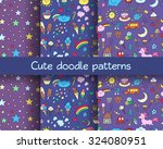 Seamless Patterns Set With Han...
