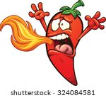 spicy chili pepper breathing... | Shutterstock .eps vector #324084581