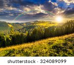 early autumn landscape. field in front of coniferous forest on a steep hillside in romanian mountains in evening light - stock photo