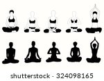 vector silhouette of yoga woman ...