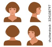 vector girl hairstyles   full ... | Shutterstock .eps vector #324108797