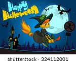 cute witch flying on her broom. ... | Shutterstock .eps vector #324112001