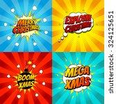 set of pop art comic christmas... | Shutterstock .eps vector #324125651