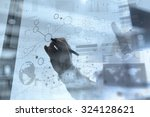 businessman hand working with... | Shutterstock . vector #324128621