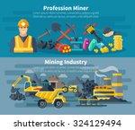 mining banner horizontal set... | Shutterstock .eps vector #324129494