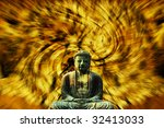 Statue of Buddha with abstract background - stock photo