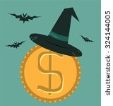 witch hat for halloween on... | Shutterstock .eps vector #324144005