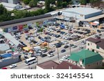 Small photo of ROSTOV-ON-DON, RUSSIA - JUNE 14, 2015: A lot of cars standing at the offhand parking. It is situated near central railway station.