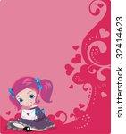 valentine letter in girls hands | Shutterstock .eps vector #32414623