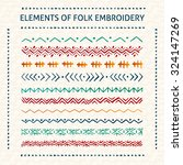 set of vector elements of folk... | Shutterstock .eps vector #324147269
