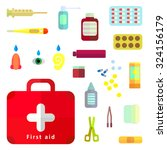 first aid kit box with medical... | Shutterstock .eps vector #324156179