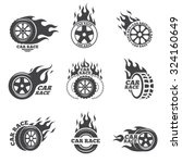 car race logo set. wheel with... | Shutterstock .eps vector #324160649