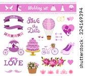 wedding card vector set. love... | Shutterstock .eps vector #324169394
