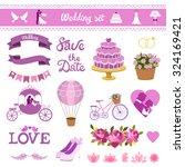 wedding card vector set. love... | Shutterstock .eps vector #324169421