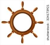 Wooden Ship Wheel On A White...