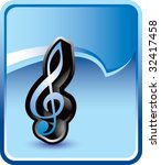 treble clef music note on blue...   Shutterstock .eps vector #32417458