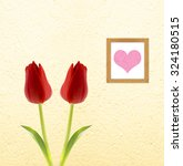 Two Red Tulips Over A Wall Wit...