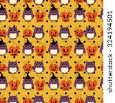 seamless halloween pattern ... | Shutterstock .eps vector #324194501