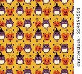 seamless halloween pattern ... | Shutterstock .eps vector #324194501
