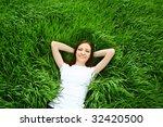 beautiful girl lying down of...   Shutterstock . vector #32420500