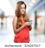young cute woman using her... | Shutterstock . vector #324207317