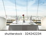 empty glasses set in restaurant | Shutterstock . vector #324242234