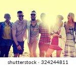 diverse beach summer friends... | Shutterstock . vector #324244811
