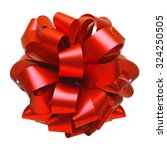 Small photo of Red ribbon bow isolated on white background. Christmas decoration.