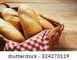 Fresh Bread In The Basket. Foo...