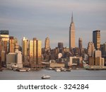 This is a dusk shot of the New York City skyline. - stock photo