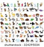 set of 100 cute cartoon animals | Shutterstock .eps vector #324295034